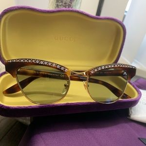 Authentic Gucci 41 Acetate Crystals green sunglass